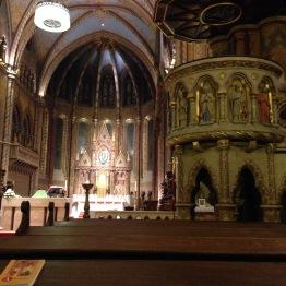 Matthias Church interior during the evening Mass.