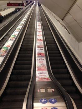 The incredibly long escalators in the Budapest subway.