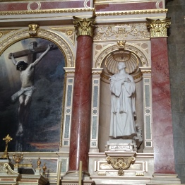 An altarpiece of the crucifixion in St. Stephen's Basilica.